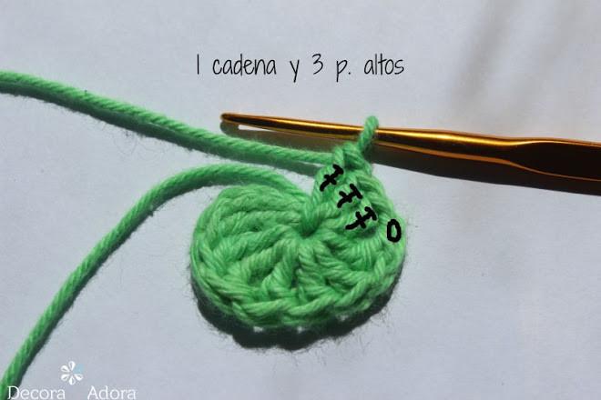 corazón fácil a crochet tejer 1 cadena y 3 ptos altos