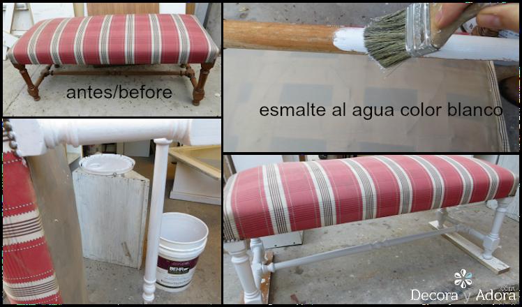 restaurar banqueta pintando con esmalte  blanco las patas y bordando tapiz.