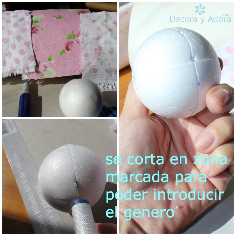 como hacer una bola patchwork de plumavit