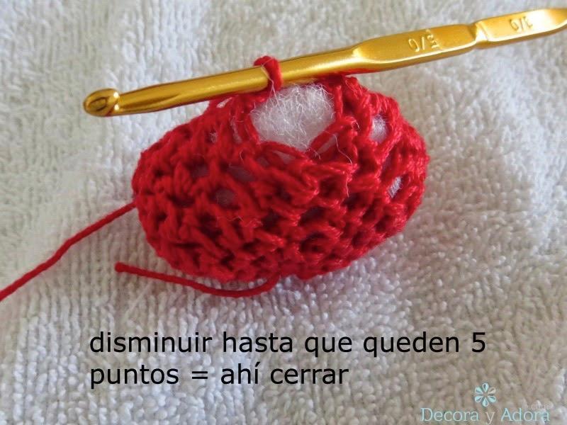 como hacer un corazón  a crochet para guirnalda