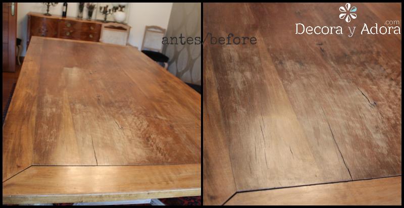 antes restaurar mesa con técnica de muñequilla