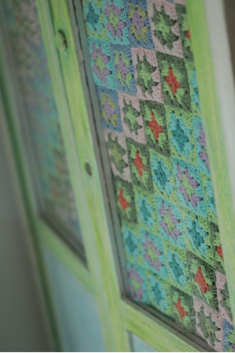 detalle de cortina a crochet