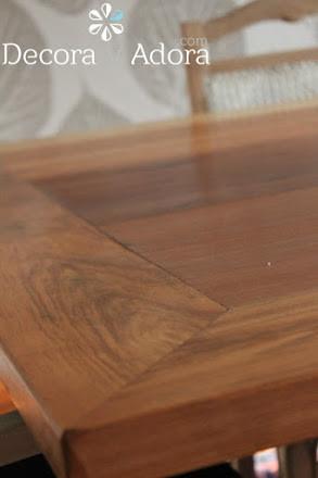 linda mesa de comedor restaurada con técnica de muñequilla