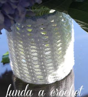 funda de frasco a crochet