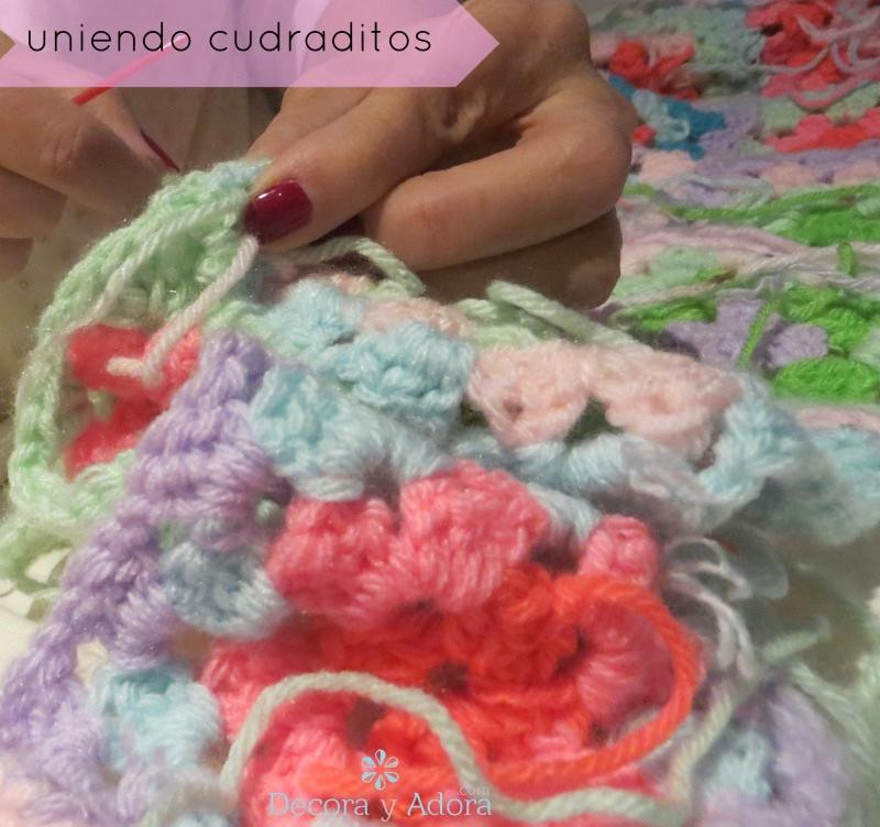 manta a crochet con cuadrados básicos