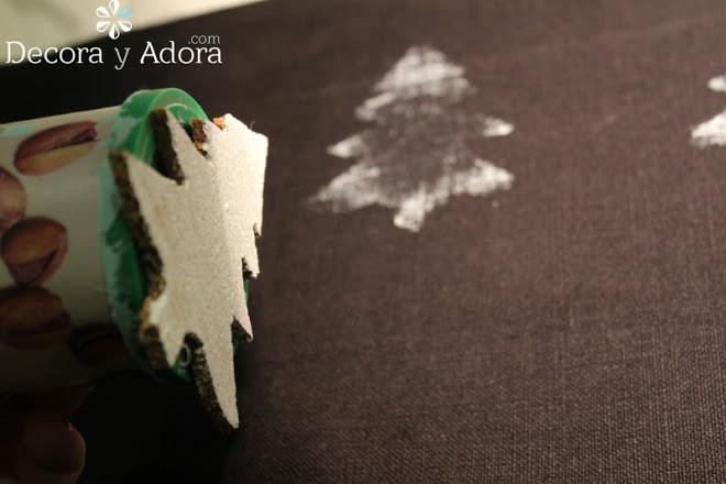 estampar el genero con arbolitos navidad