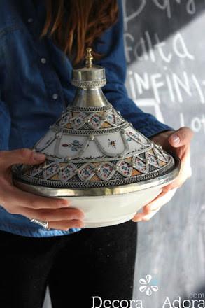 Tajín marroquí esmaltado , preciosa pieza de arte