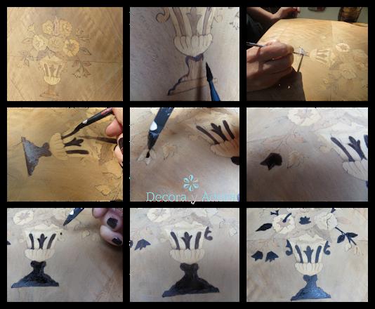 restaurar bife antiguo resaltando marquetería desgastada, pintar con betún de Judea marquetería