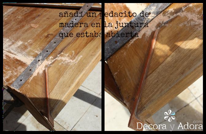 añadir pedacito madera restaurar mesa con técnica de muñequilla