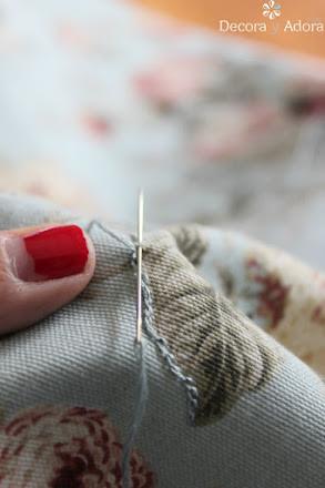 bordar tapiz con punto cadeneta para restaurar banqueta