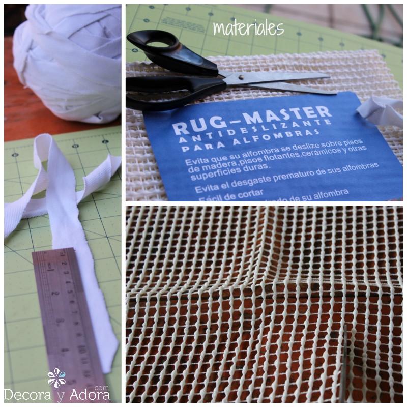materiales para alfombra de nudos con retazos de tela