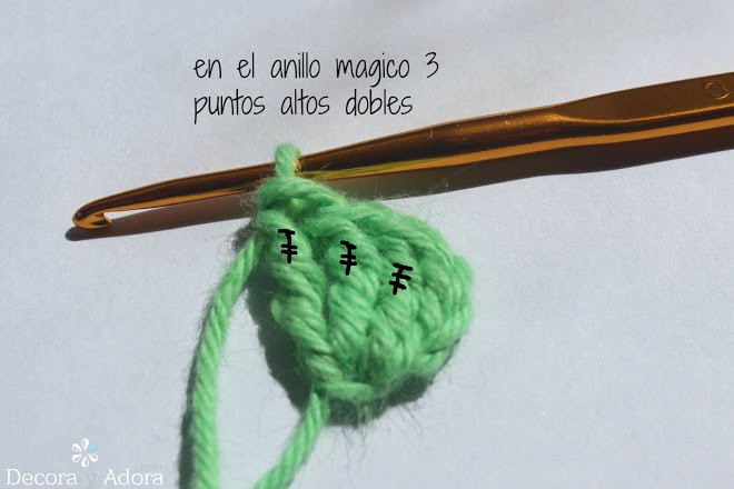 corazón fácil a crochet tejer 3 ptos dobles altos