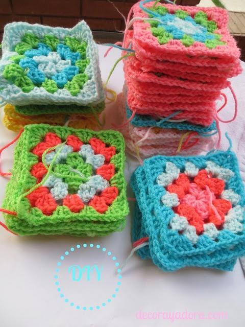 diy colcha a crochet con cuadrados básicos