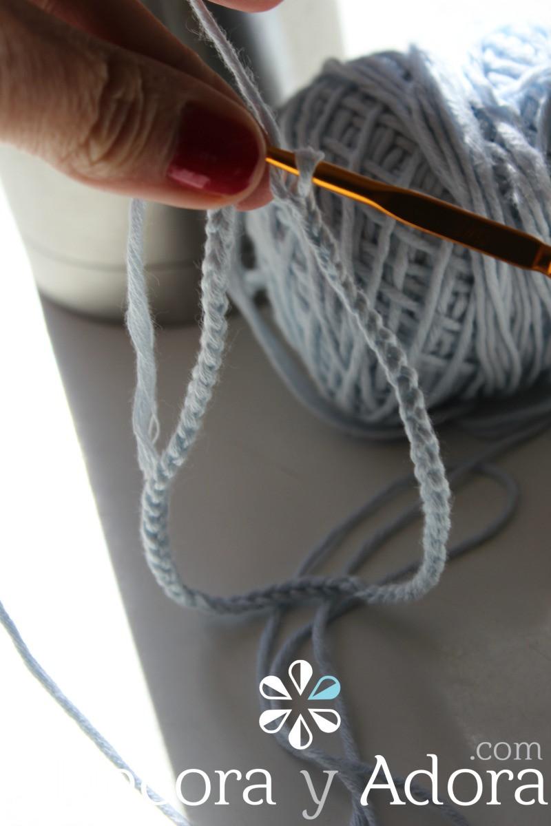 celeste funda de termo a crochet
