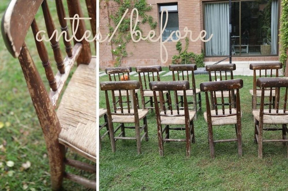 antes de pintar las sillas de negro