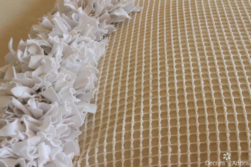 paciencia alfombra de nudos con retazos de tela