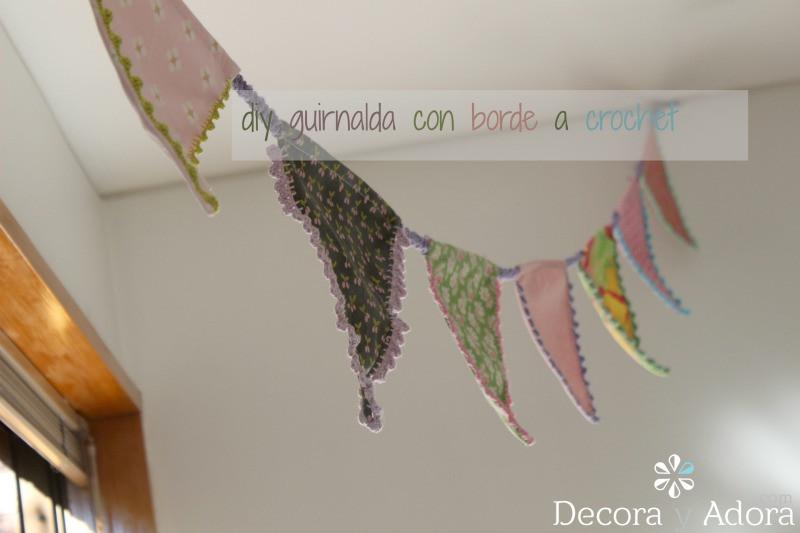 guirnalda de tela con bordea crochet