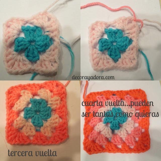 tutorial colcha a crochet con cuadrados básicos