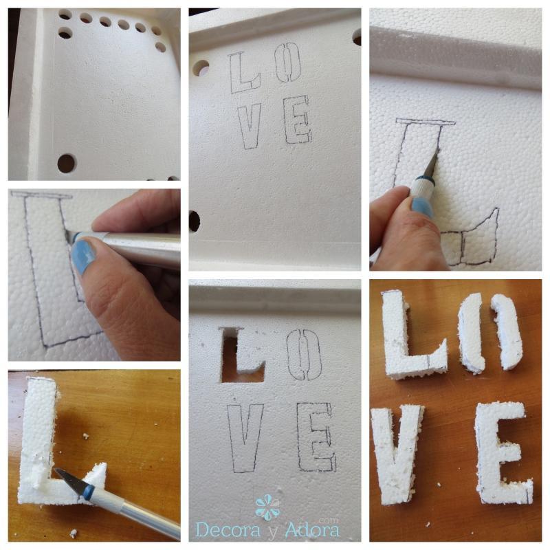 Como hacer Letras Love en plumavit