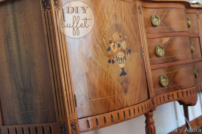 restaurar bife antiguo resaltando marquetería desgastada