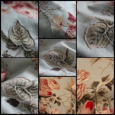 restaurar banqueta pintando de blanco las patas y bordando  con cadeneta tapiz