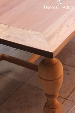 cubierta lijada restaurar mesa con técnica de muñequilla