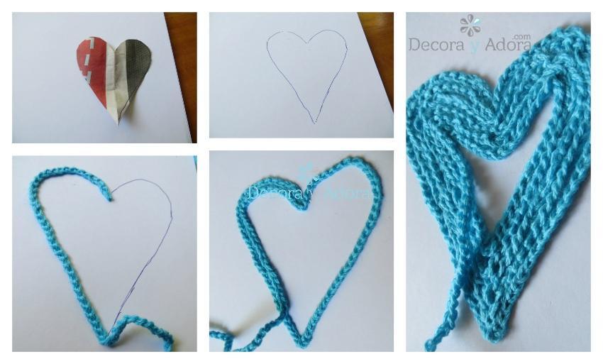 tarjeta de corazón con cadenetas