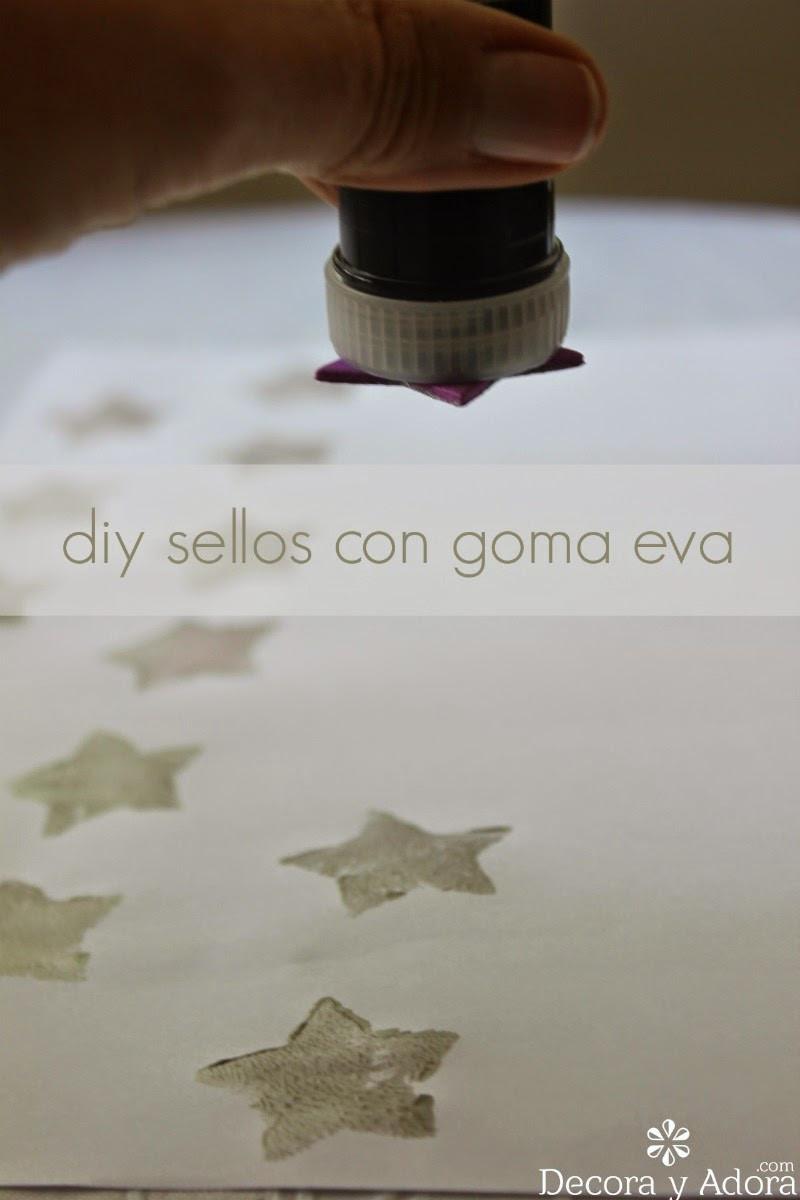 como hacer sellos para imprimir papel regalo
