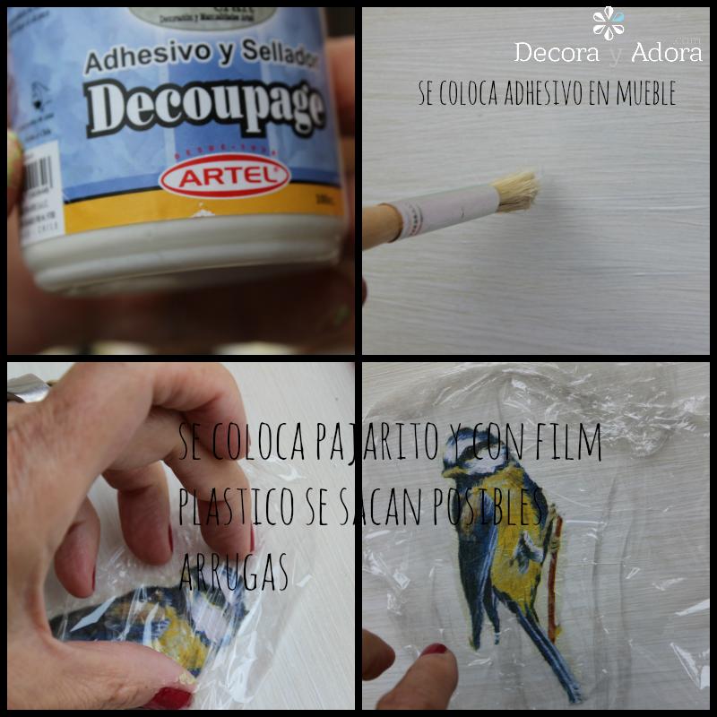 colocar adhesivo para decoupage