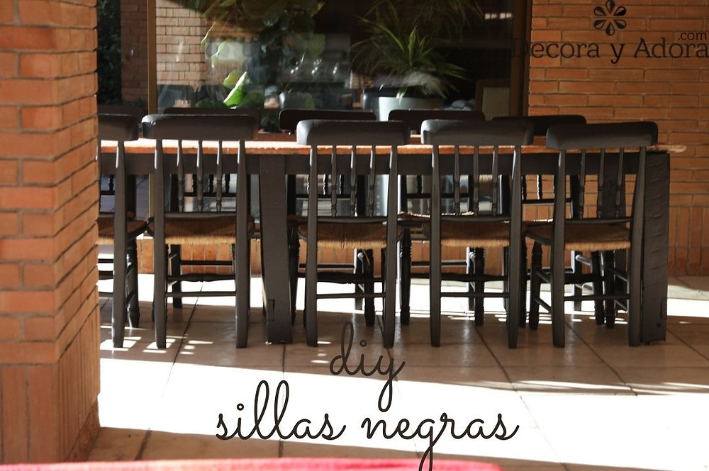 sillas con asiento de paja pintadas de negro