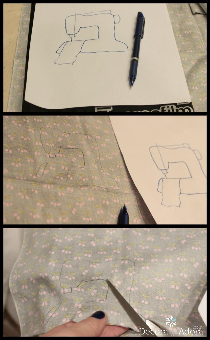 calco aplicación de funda de máquina a coser