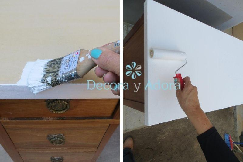 pintura blanca en trupan de reciclaje mueble