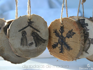 Adornos  navidad de trozos de madera