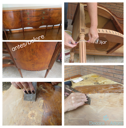 restaurar bife antiguo resaltando marquetería desgastada, partir lijando
