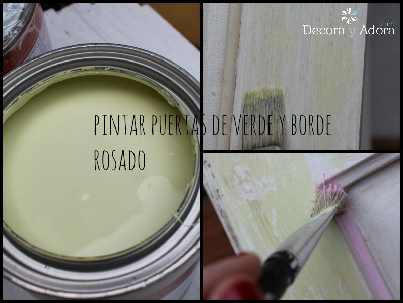 pintar verde y rosa mueble decoupage