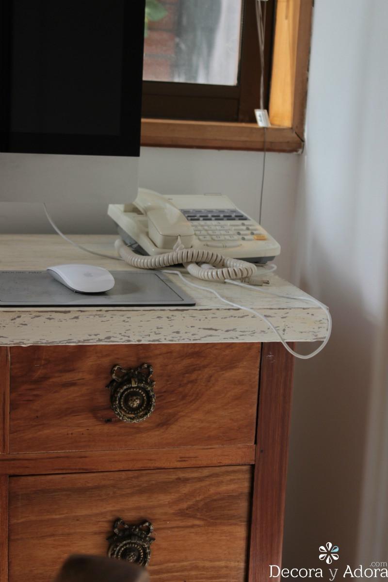 detalle  diy escritorio que parece mármol