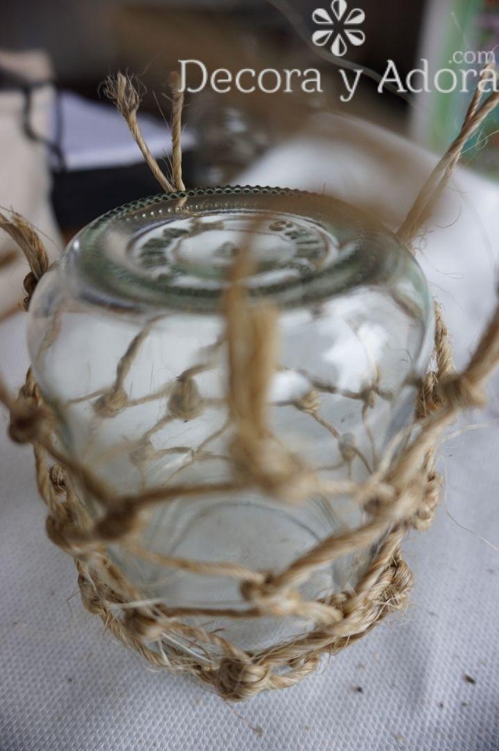 fácil centro de mesa con cuerda de sisal