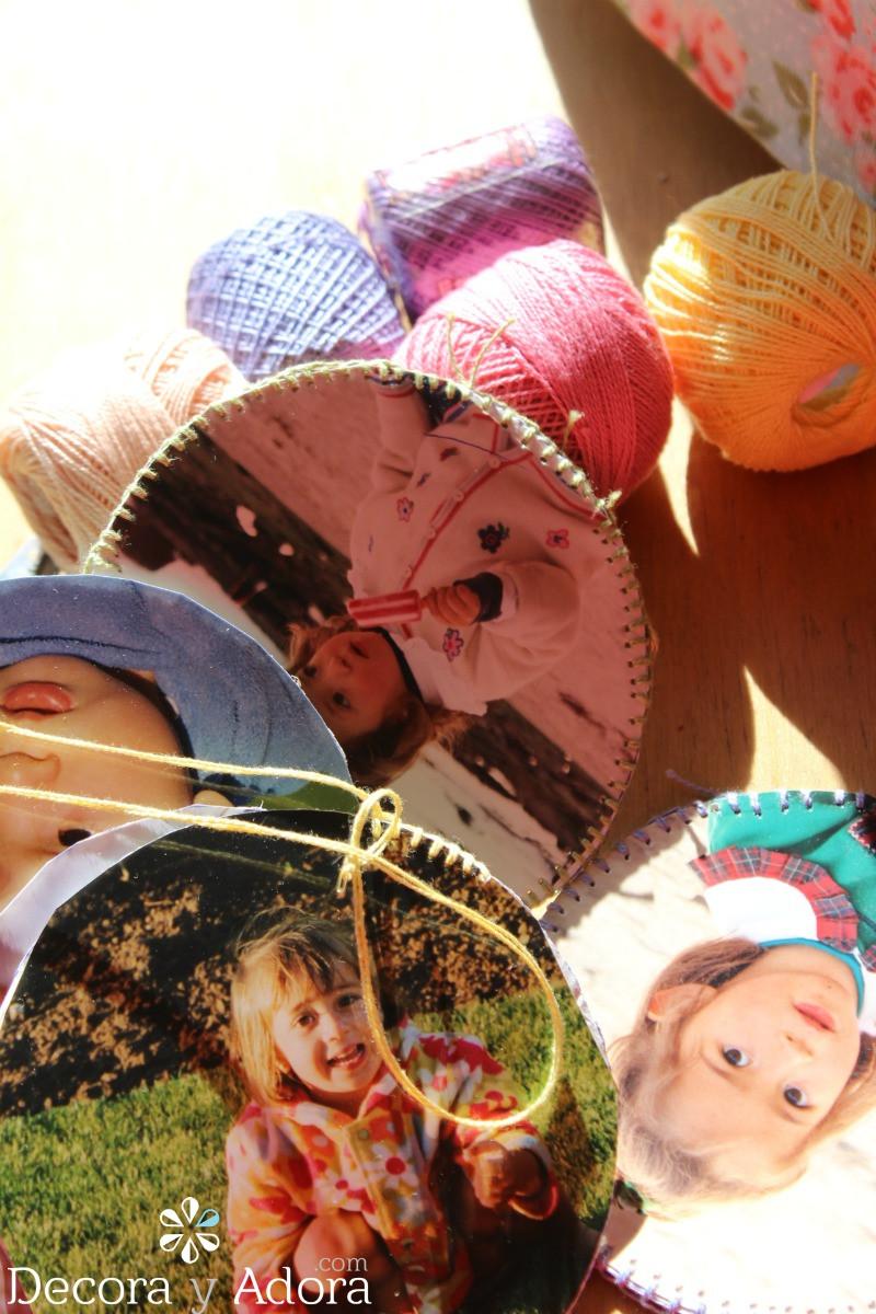 punto festón en cuadrito con fotos a crochet