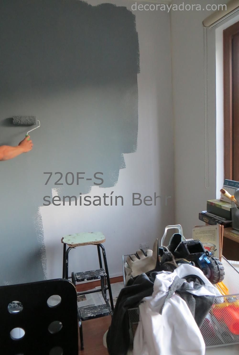 pintando gris el fondo dormitorio niños