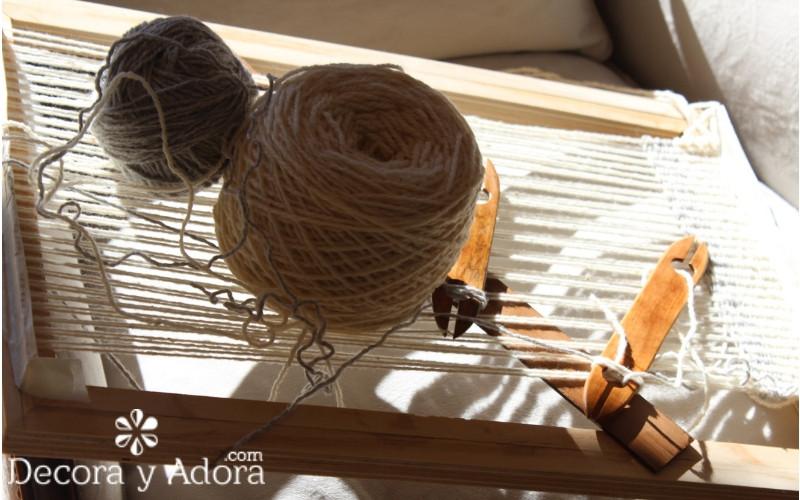 lanas para cojín a telar