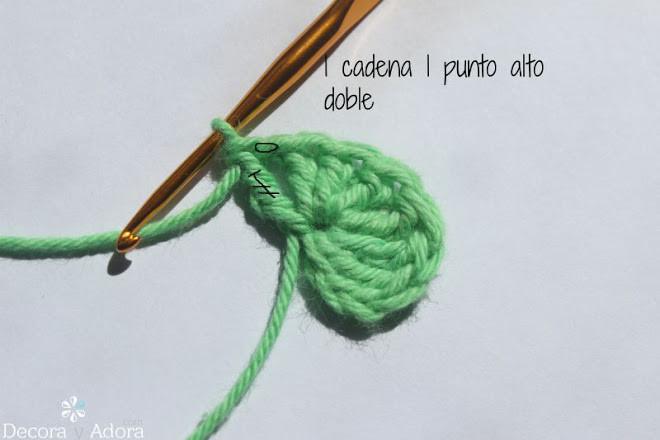 corazón fácil a crochet tejer 1 cadena 1pto doble alto