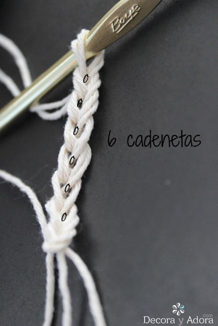 tejer una cadeneta de 6 puntos para posavasos a crochet