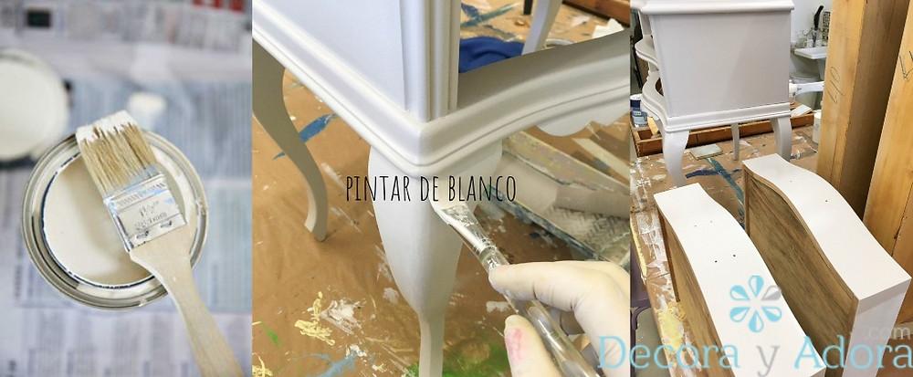 pintar velador antiguo con blanco roto