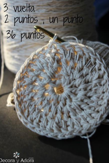 2 puntos , un punto para posavasos a crochet
