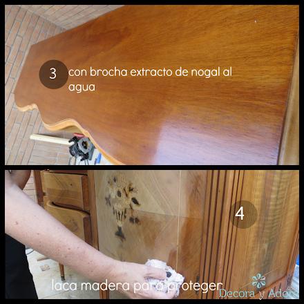 restaurar bife antiguo resaltando marquetería desgastada, con brocha extracto de nogal