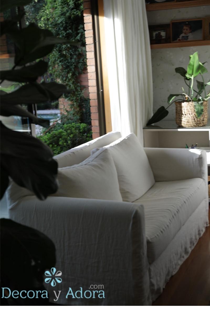 cortinas de lino en dormitorio matrimonial