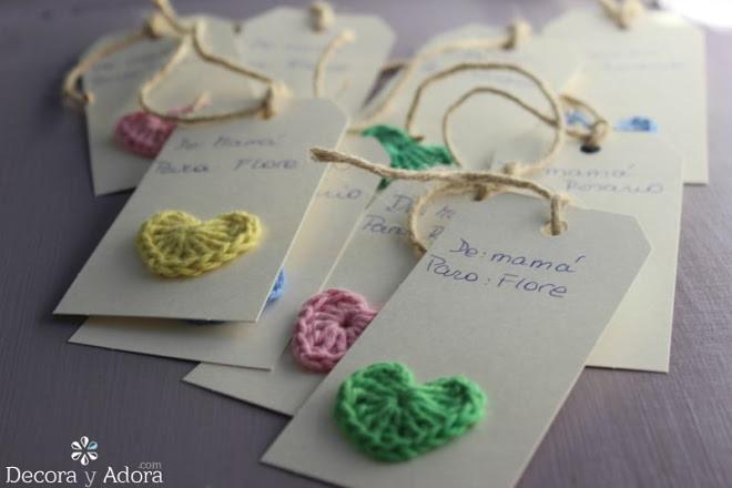 lindos tag corazón fácil a crochet