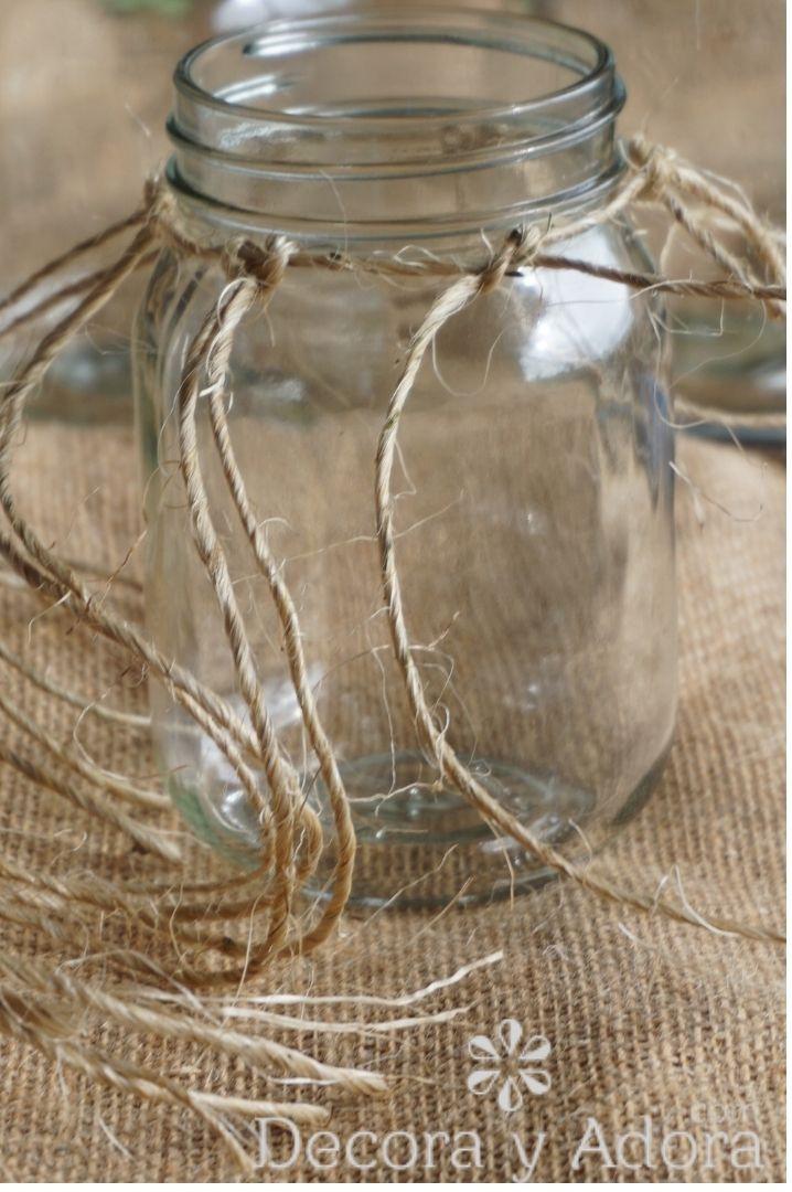 centro de mesa con cuerda de sisal hazlo tu mismo