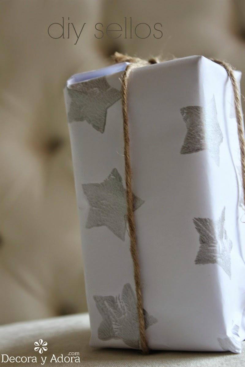 lindo  envoltorio con sellos navideños