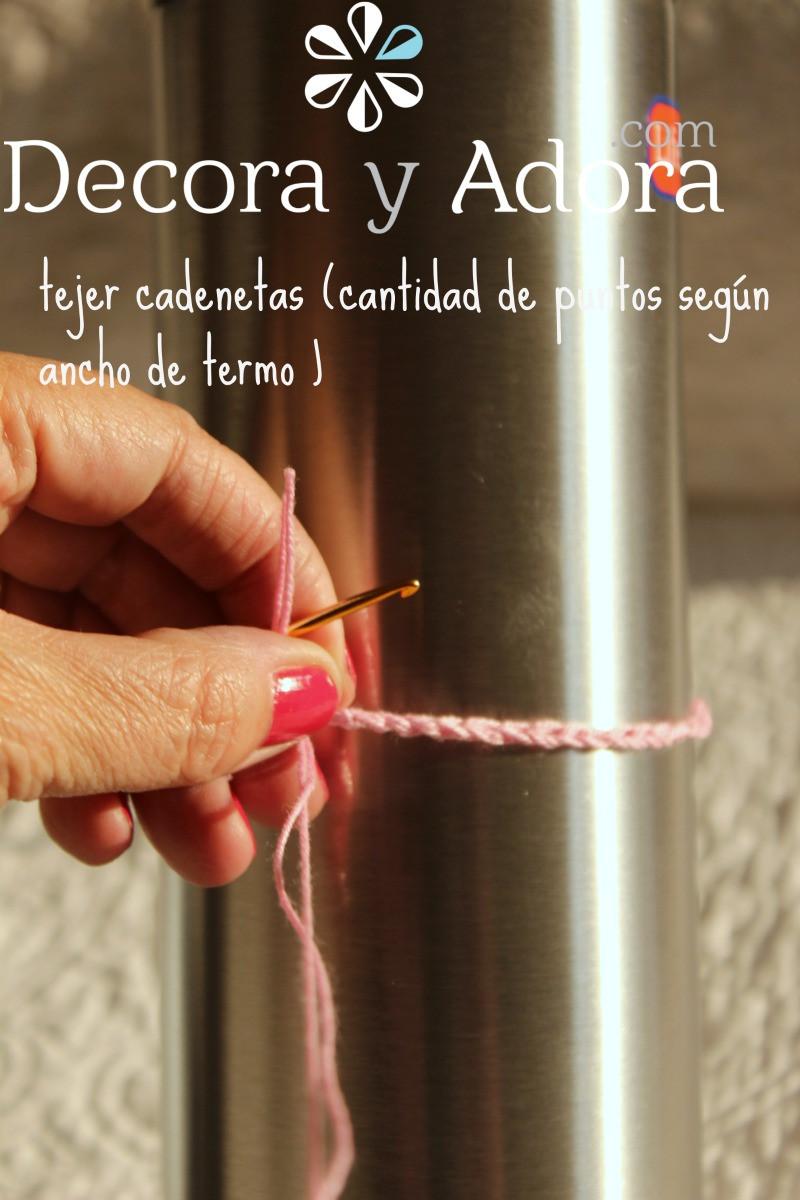 tejer cadenetas funda de termo a crochet